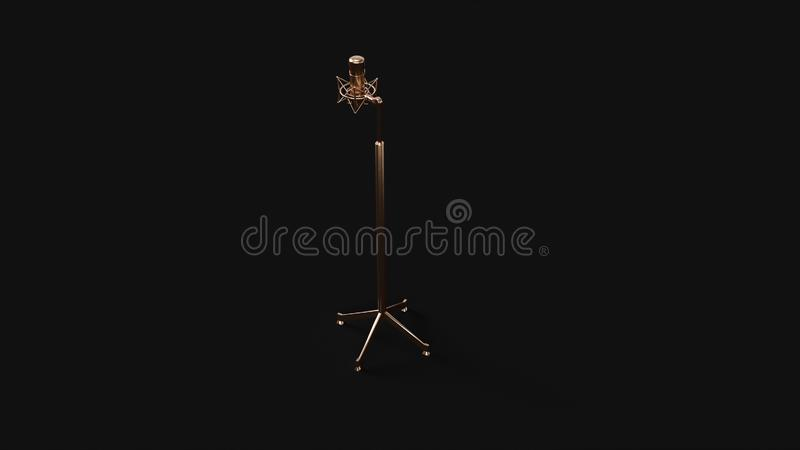 Bronze Brass Microphone and Stand stock illustration