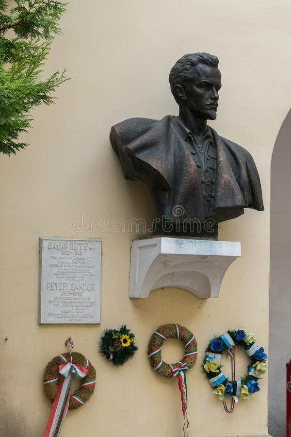 Bronze bust of the famous historical figure Shendor Petofi royalty free stock photo