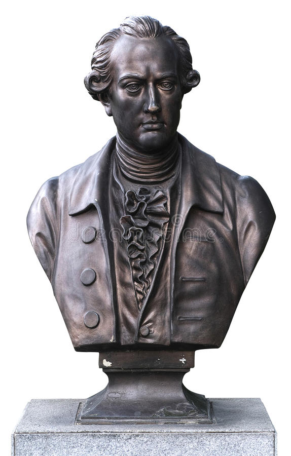 Bronze bust of Goethe isolate. D on white Bronze bust of Goethe in Frankfurt Rose Garden of Guangzhou LiuHuahu park, Canton province, Guangzhou, China. the stock photo
