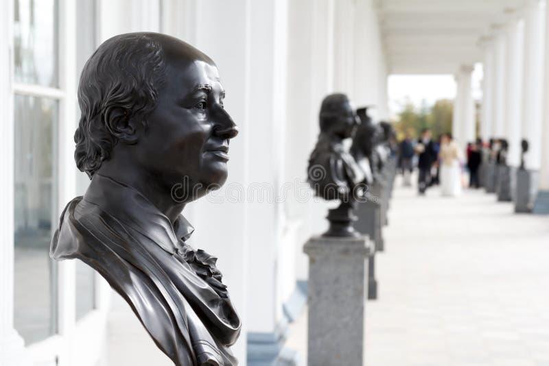 The bronze bust of Mikhail Lomonosov by sculptor Fedot Shubin. Pushkin near St.Petersburg, Russia royalty free stock photo