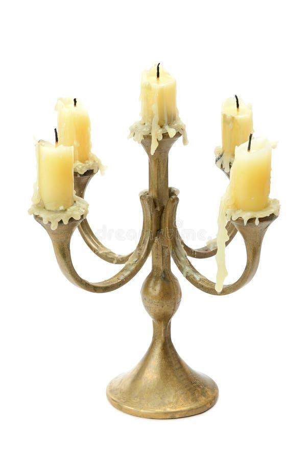Bronze candelabrum isolated on white. Background royalty free stock image