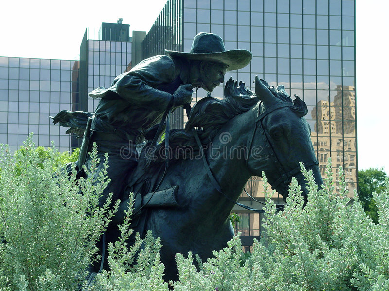 Download Bronze Cowboy stock photo. Image of bronze, city, mane, lean - 77376