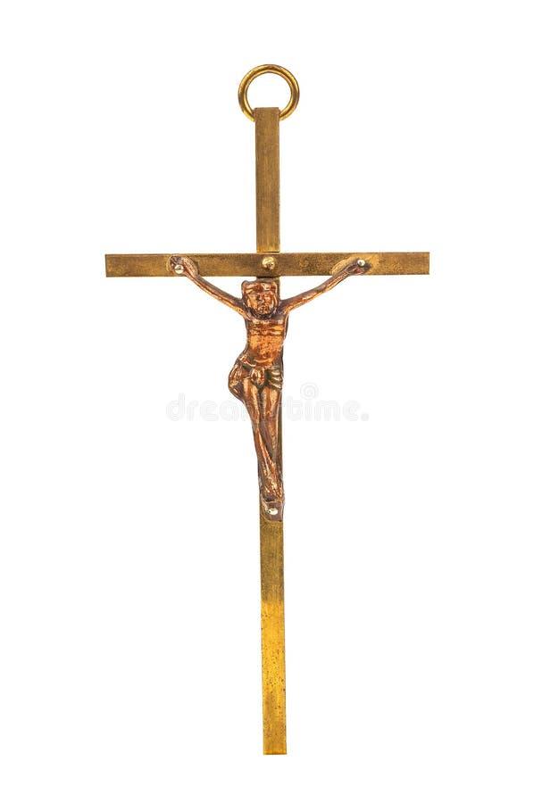 Bronze cross with crucifix. Religion theme royalty free stock photos