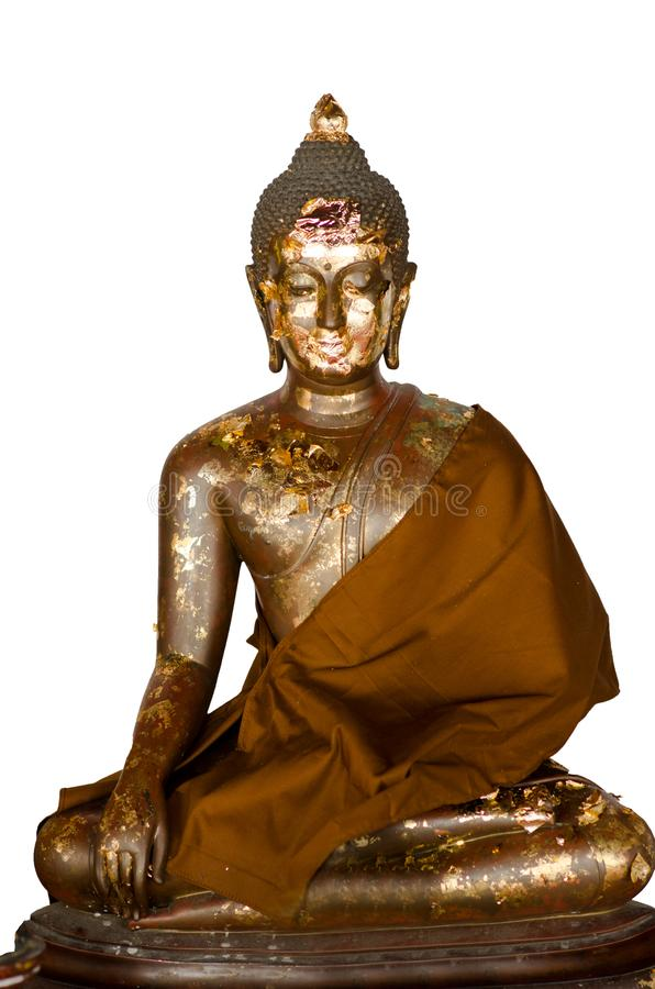 Bronze da Buda na terra traseira branca e na imagem isolada, de dorso branco da Buda fotos de stock royalty free