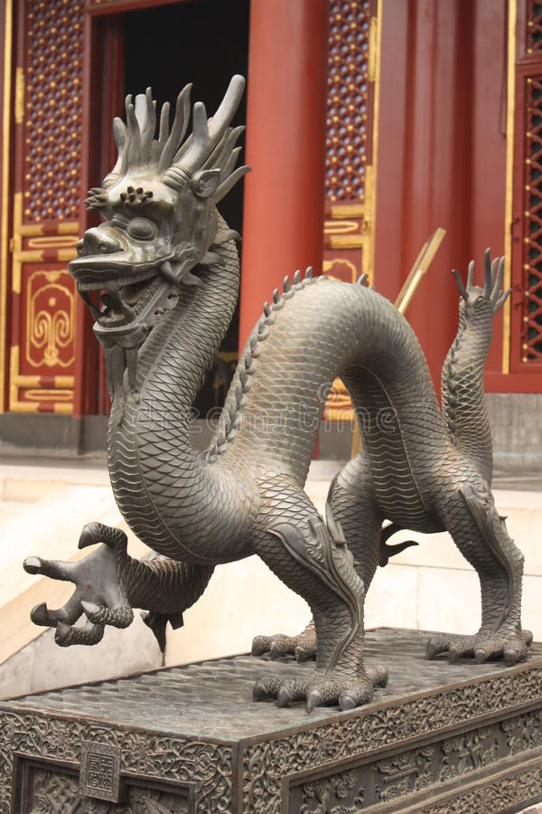 Bronze dragon is guarding Forbidden City stock photos