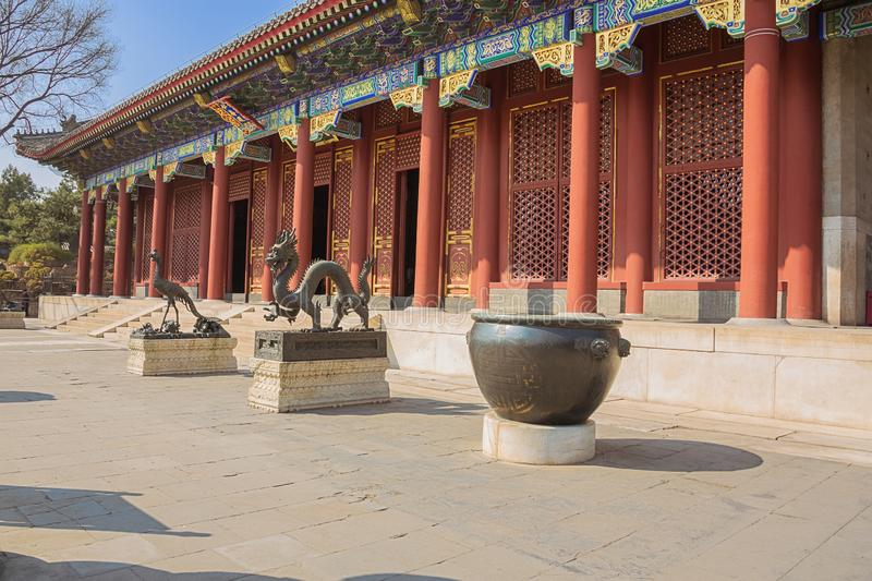 Bronze dragon and phoenix at the Summer Palace stock image