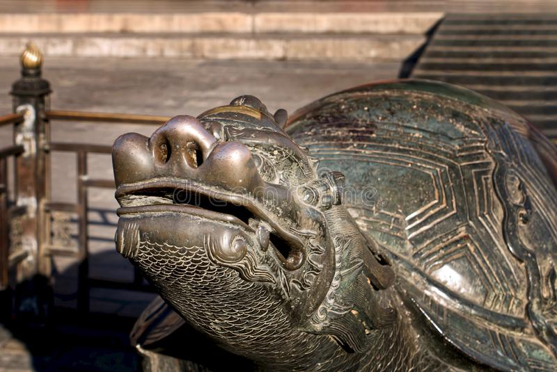 Bronze Dragon turtle. The Imperial Palace in Beijing, royalty free stock photography