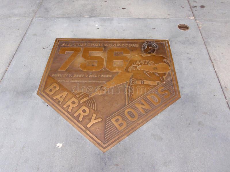 Bronze Emblem Celebrate 756 Homerun Of Barry Bonds Editorial Stock Image