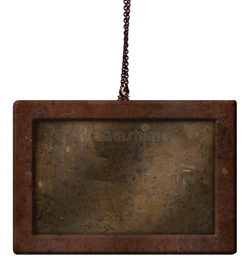 Bronze en laiton d'en cuivre de chaîne de rouille de bouclier en métal vieux images libres de droits