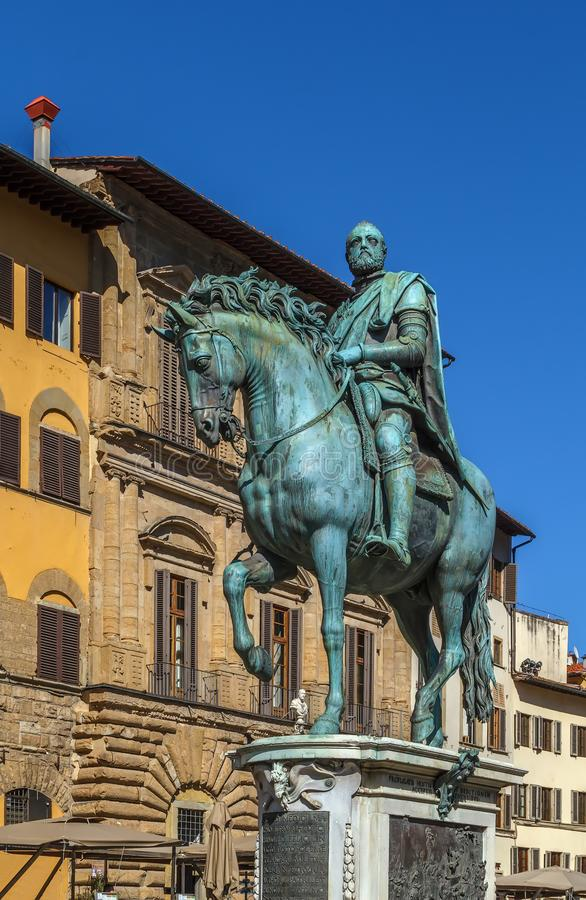 Statue of Cosimo I, Florence, Italy. Bronze equestrian statue of Cosimo I on Piazza della Signoria in Florence, Italy royalty free stock images