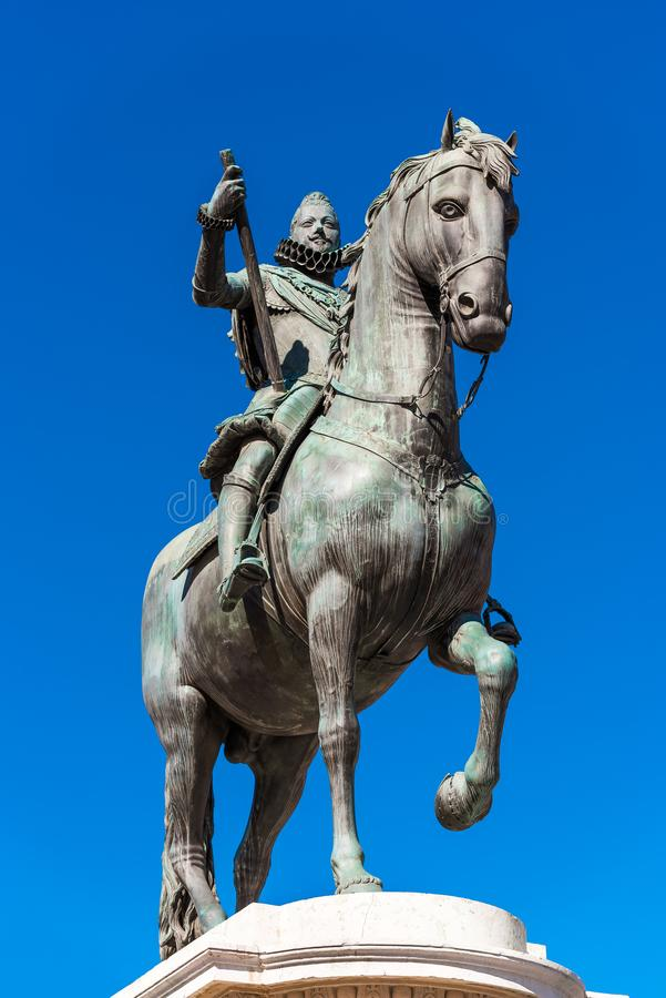 Bronze equestrian statue of King Philip III in Madrid, Spain. Copy space for text. Vertical. Bronze equestrian statue of King Philip III in Madrid, Spain. Copy stock images