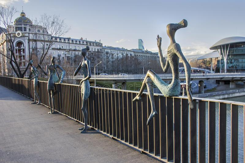 Bronze figure, sculptural composition `Youth` created by Georgi Japaridze. Tbilisi, Georgia- January,10, 2018: Bronze figure, sculptural composition `Youth` royalty free stock photo