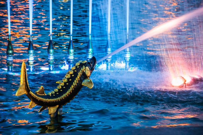 Bronze figures-fountains of sturgeon fish in the pool of the Stone Flower Fountain at VDNH. Night illumination. MOSCOW, RUSSIA - May 1, 2019: Bronze figures royalty free stock image