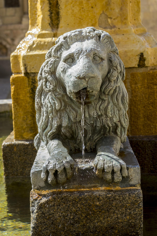 Bronze fountain with lion shape, City of Segovia, famous for its royalty free stock photo