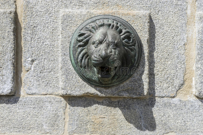 Bronze fountain with lion shape, City of Segovia, famous for its royalty free stock photos