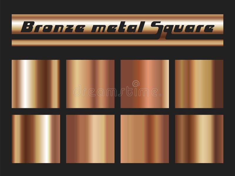 Bronze gradient square set. Metallic texture background. Vector illustration stock illustration