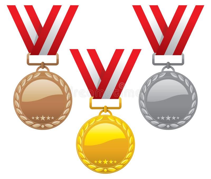 bronze guldmedaljer inställd silver royaltyfri illustrationer