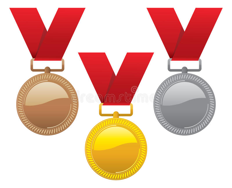 bronze guldmedaljer inställd silver vektor stock illustrationer
