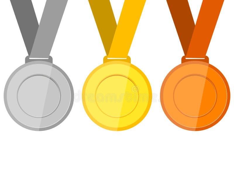 bronze guldmedaljsilver stock illustrationer