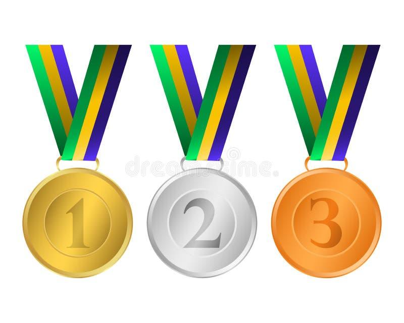 bronze guldmedaljsilver royaltyfri illustrationer