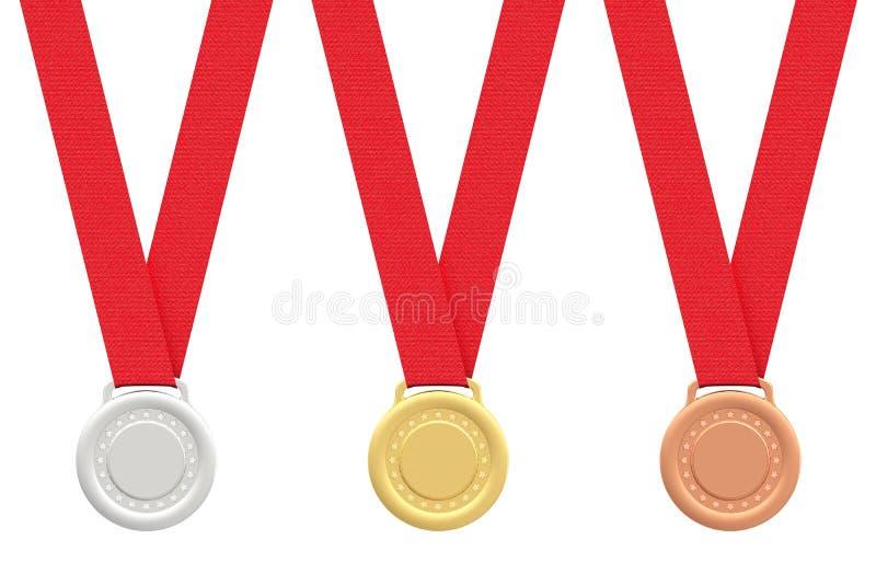 bronze guldmedaljsilverwhite royaltyfri illustrationer