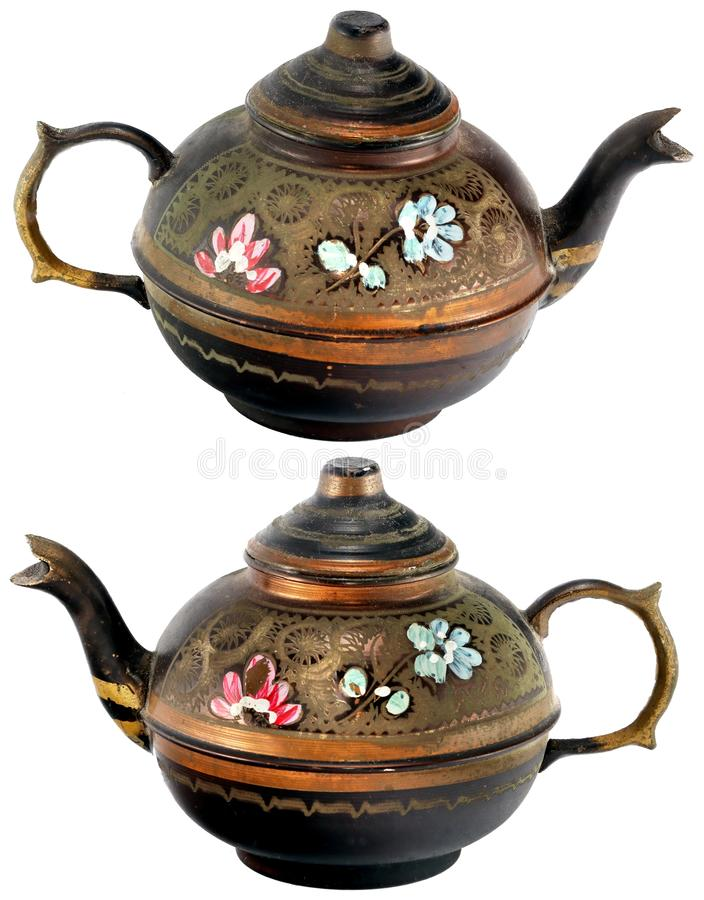 Bronze hand painted kettle. Decorated with flowers (view from different angles) isolated on white background stock images
