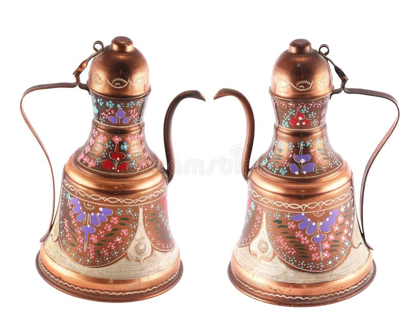 Bronze hand painted kettle. (view from different angles) isolated on white background royalty free stock images