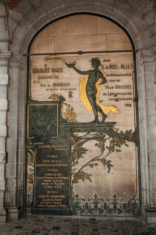 Bronze in honor of old personalities at the City Hall in Brussels. royalty free stock photos
