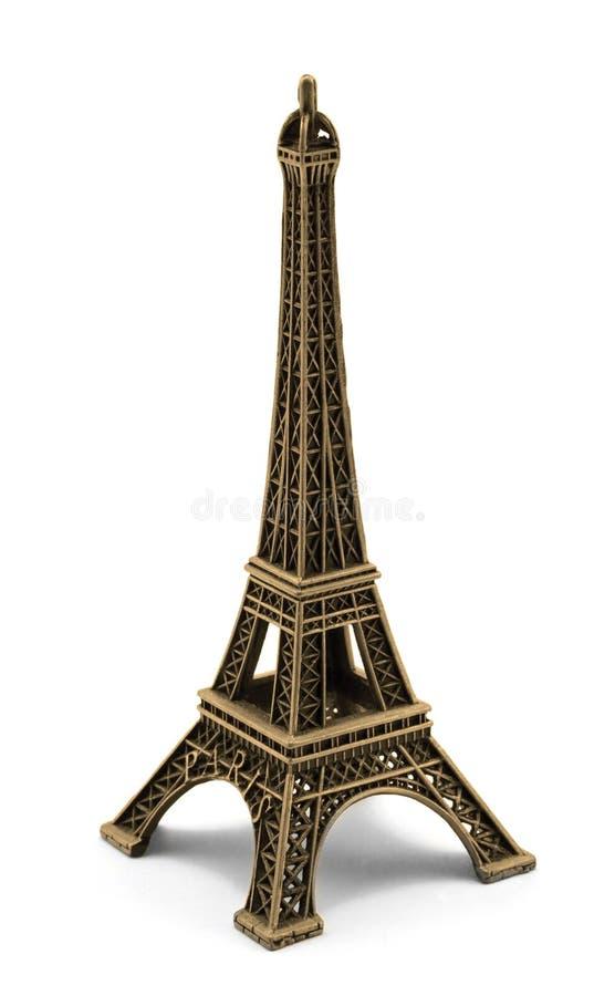 Bronze keychain souvenir from metal Eiffel Tower Paris. On white stock photo