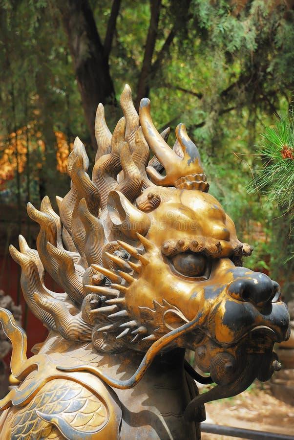 Bronze lion in Forbidden City garden royalty free stock images