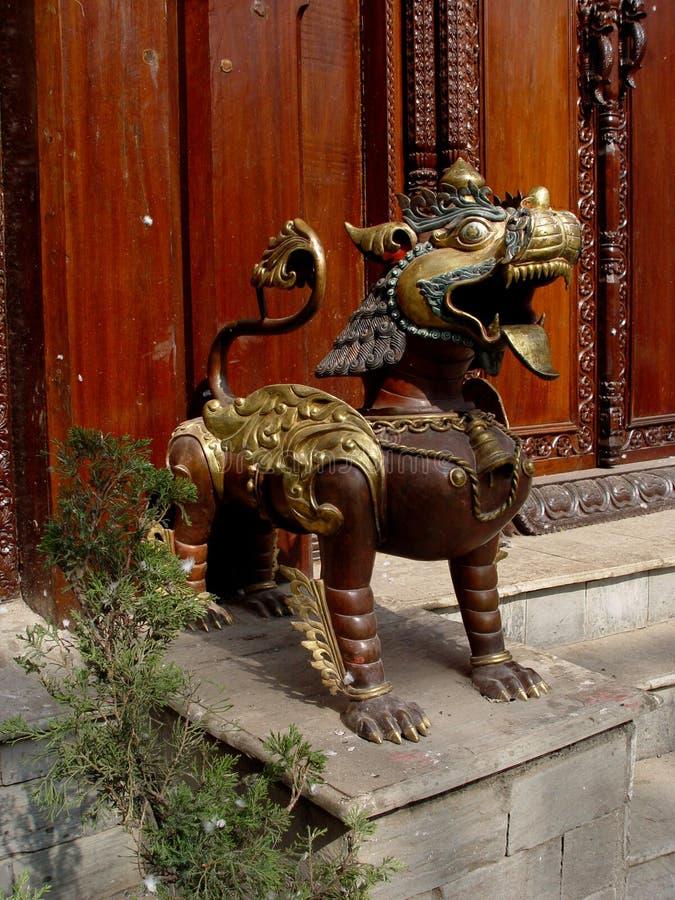Bronze Lion from Katmandu royalty free stock images