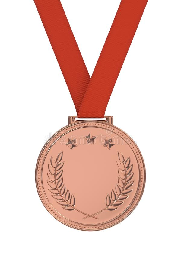 Bronze meda. L with laurels and stars on a red ribbon. Victory, best product, service or employee, first place concept. Achievement in sports. Isolated on white stock photography