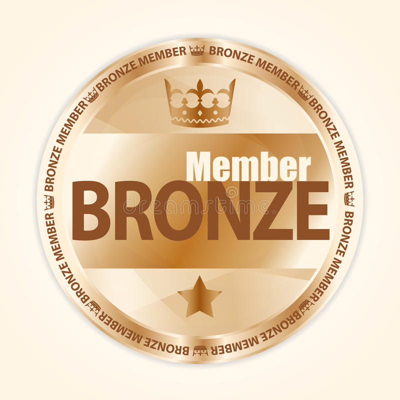 Bronze member badge with royal crown and one star stock illustration