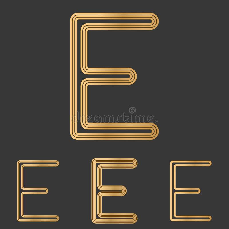 Bronze line e logo design set. Bronze metal line e logo design set stock illustration
