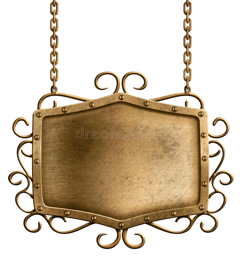 Free Bronze Metal Signboard Hanging On Chains Isolated Stock Image - 28188011