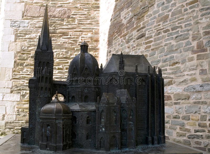 Bronze miniature of the Aachen Cathedral in Germany stock photos