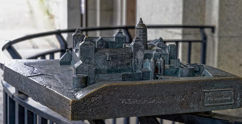 Bronze model of the castle Tre Kronor Three Crowns that burned down 1697, located in front of the Tre Kronor Museum entrance by stock images