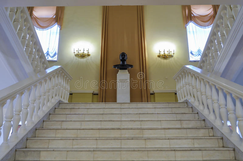 Bronze monument to Russian emperor Alexander II in the interior of the Art Museum of Veliky Novgorod, Russia stock photography