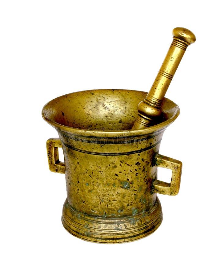 bronze mortelpestle för antikviteter arkivbilder