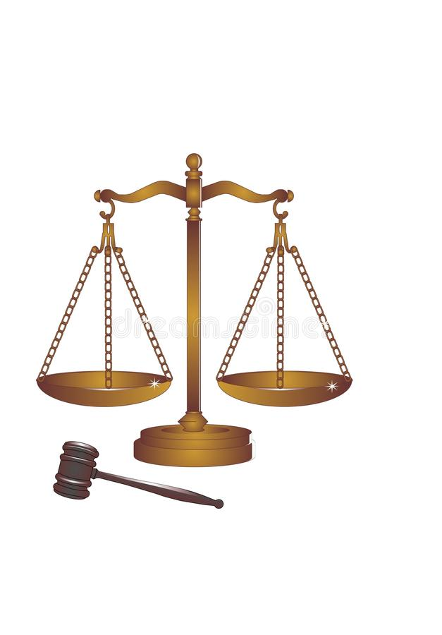 Free Bronze Or Copper Gavel And Scales. Royalty Free Stock Photos - 14924058
