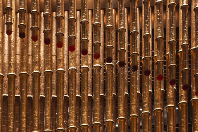 Bronze Pipes Bamboo Shaped stock photography