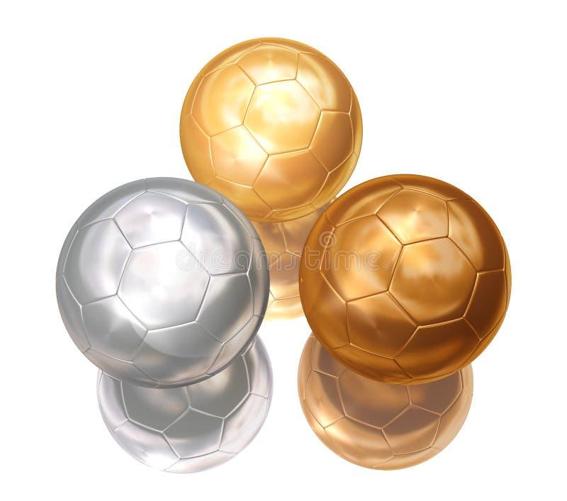 Bronze, prata, esferas de futebol do ouro ilustração stock