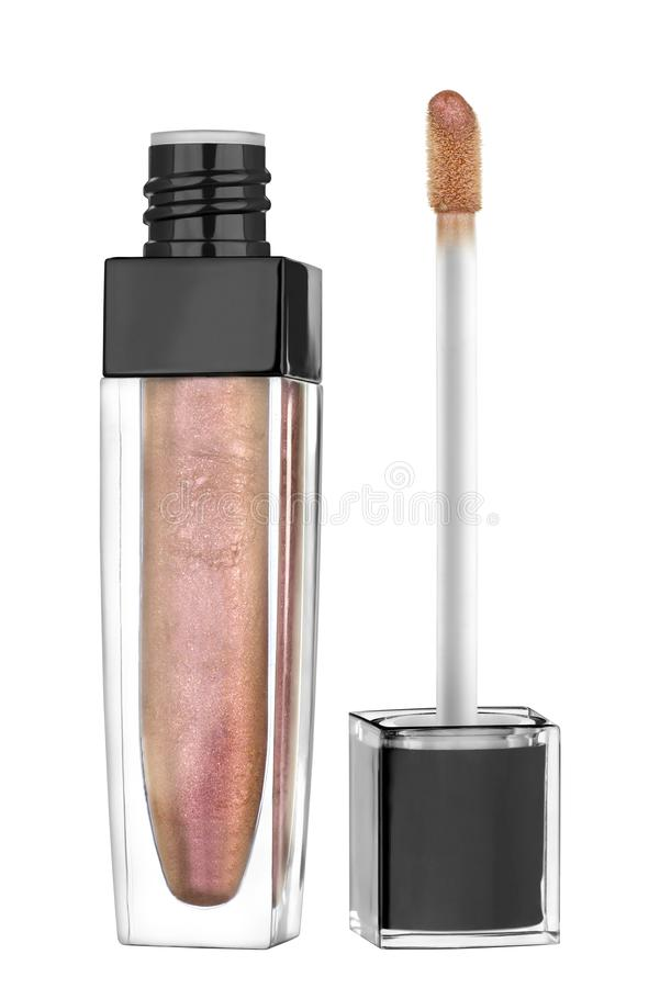 Bronze red shiny color lip gloss with glitter particles in elegant glass bottle with black lid, open container and brush exposed, stock images