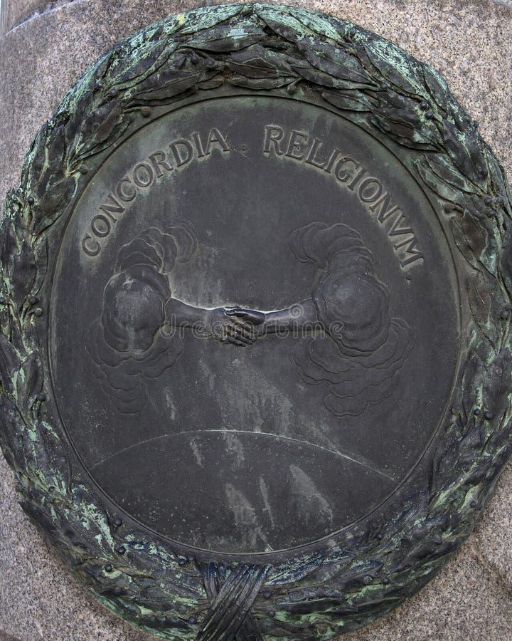 Bronze relief on one of four pillars surrounding the pedestal of the Equestrian statue of Emperor Joseph II, Josefsplatz, Vienna royalty free stock images