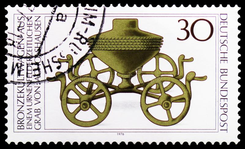 Bronze Ritual Chariot, Archaeological Heritage serie, circa 1976 royalty free stock photography