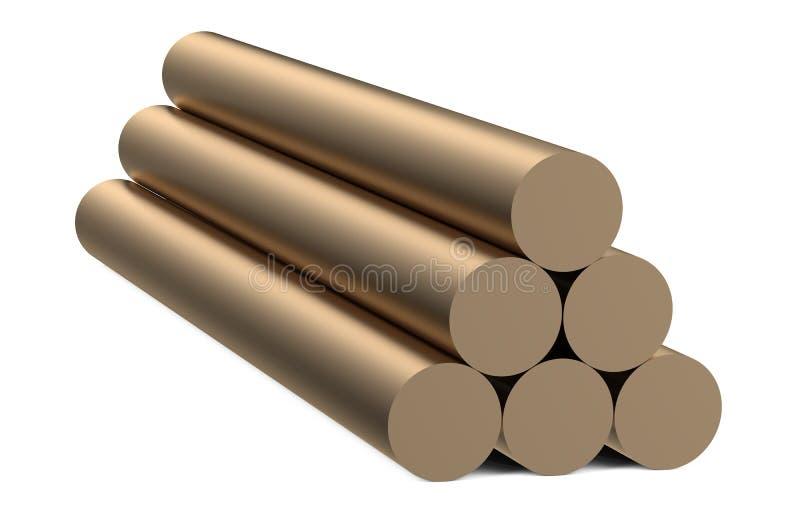 Bronze round bars. Isolated on white background royalty free illustration