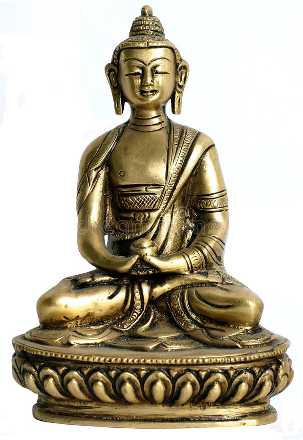 Bronze satue of buddha. On display royalty free stock photo