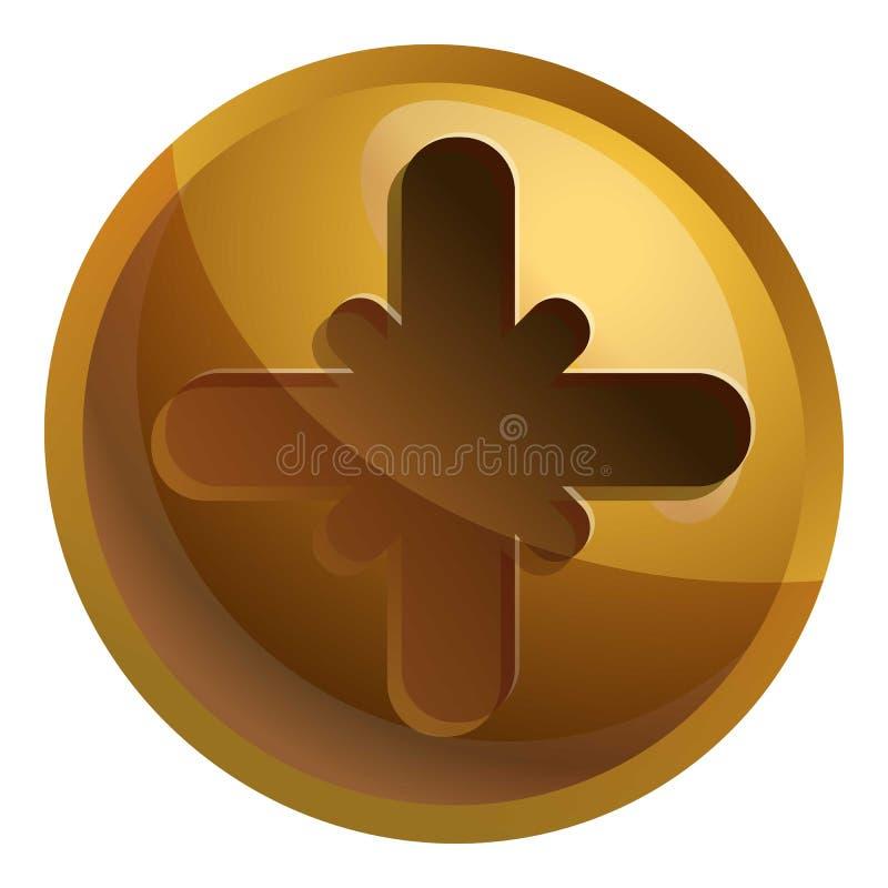 Bronze screw head icon, cartoon style. Bronze screw head icon. Cartoon of bronze screw head vector icon for web design isolated on white background royalty free illustration