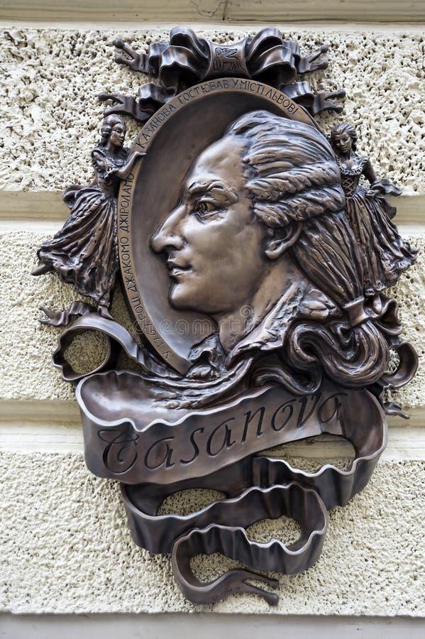 Bronze sculptural relief of Casanova in Lviv Ukraine royalty free stock photography