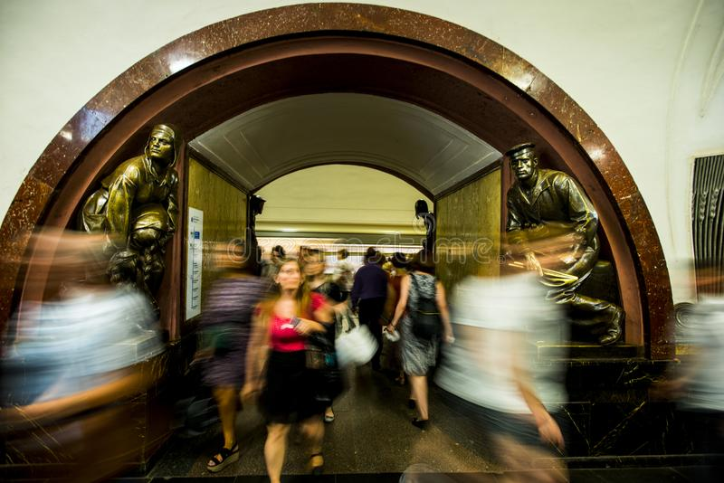 Bronze sculpture in the famous russian revolution metro station, moscow, russia royalty free stock photography
